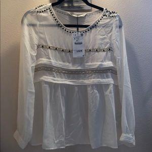 Zara white blouse with emerald detail NWT